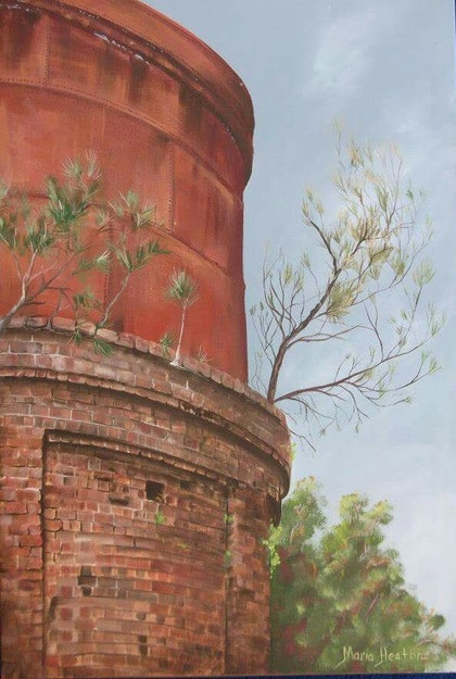 (CreativeWork) Byron Railway Watertower  by Maria Heaton. arcylic-painting. Shop online at Bluethumb.