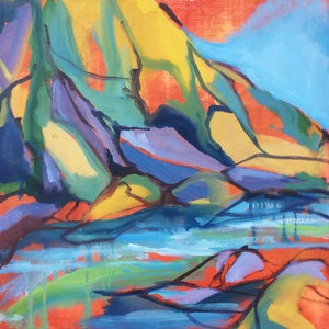(CreativeWork) River Fragment 9 by Nicole Foxall. oil-painting. Shop online at Bluethumb.