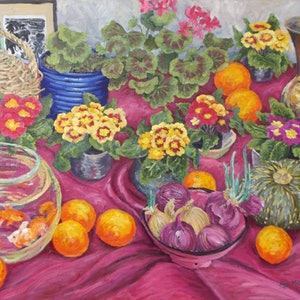 (CreativeWork) Fishbowl with Polyanthus by Sue McCutcheon. oil-painting. Shop online at Bluethumb.