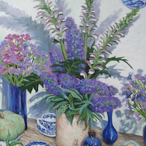 (CreativeWork) Blue still life by Sue McCutcheon. oil-painting. Shop online at Bluethumb.