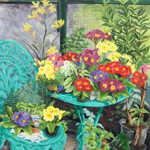 (CreativeWork) Polyanthus on the back patio  by Sue McCutcheon. oil-painting. Shop online at Bluethumb.
