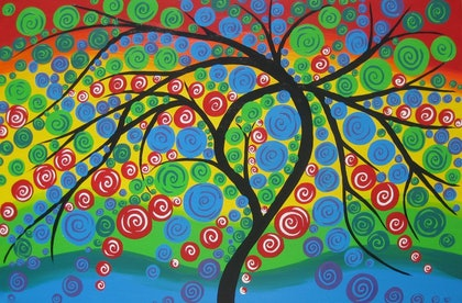 (CreativeWork) Circle tree by Cathy Jacobs. arcylic-painting. Shop online at Bluethumb.