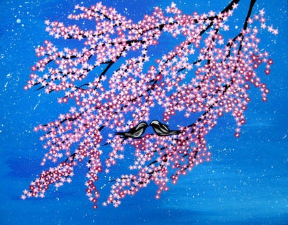 (CreativeWork) Stars and Cherry Blossom by Cathy Jacobs. arcylic-painting. Shop online at Bluethumb.