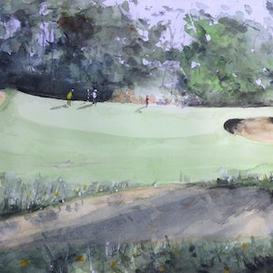 (CreativeWork) Golf in the Afternoon by Bernd Rieve. watercolour. Shop online at Bluethumb.