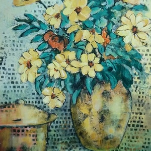 (CreativeWork) Still life in gold by Gaye Oakes. mixed-media. Shop online at Bluethumb.