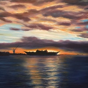 (CreativeWork) Williamstown Dockyards 2014 by Jack Woods. oil-painting. Shop online at Bluethumb.