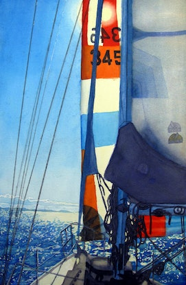 (CreativeWork) Sailing North by Abramo Papp. Watercolour Paint. Shop online at Bluethumb.