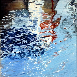(CreativeWork) Marina reflections 3 by Abramo Papp. watercolour. Shop online at Bluethumb.