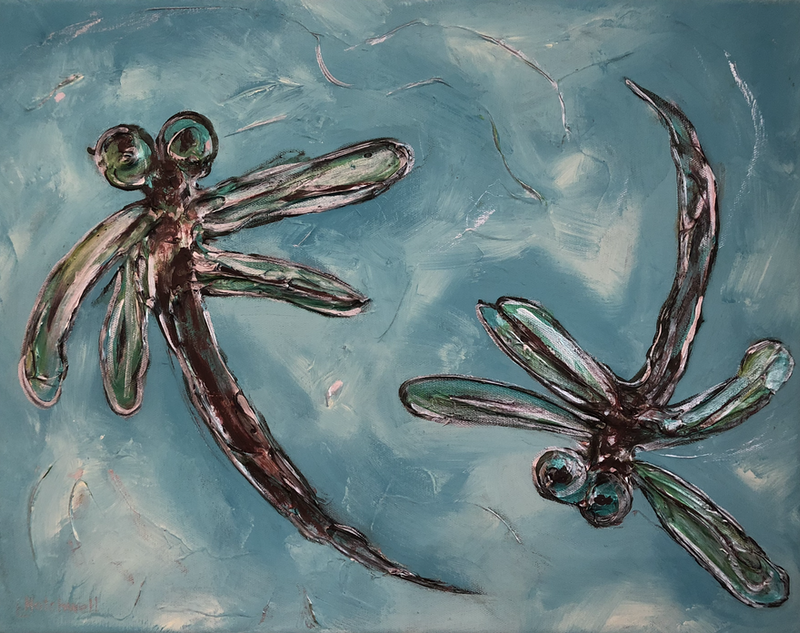 (CreativeWork) Dragonfly Flit Teal Olive by Lyndsey Hatchwell. arcylic-painting. Shop online at Bluethumb.