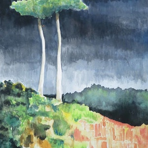 (CreativeWork) Last Big Trees  by John Graham. mixed-media. Shop online at Bluethumb.