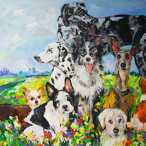 (CreativeWork) Your Dog Loves You! by Katerina Apale. arcylic-painting. Shop online at Bluethumb.