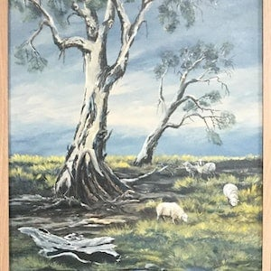 (CreativeWork) Early Morning Grazing by Jenny Care. arcylic-painting. Shop online at Bluethumb.
