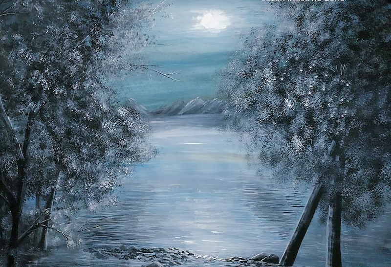 (CreativeWork) The Moonlit Night by Habiba Tasnim. arcylic-painting. Shop online at Bluethumb.