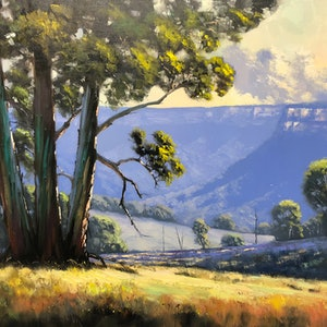 (CreativeWork) Looking Into The Valley by John Rice. oil-painting. Shop online at Bluethumb.
