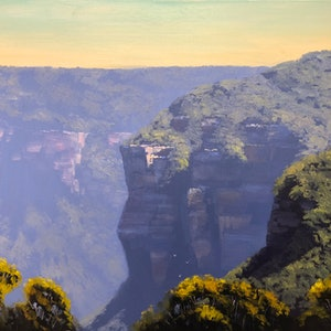 (CreativeWork) Sunlight And Shadow, Katoomba by John Rice. oil-painting. Shop online at Bluethumb.