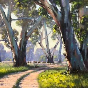 (CreativeWork) Track To The River by John Rice. oil-painting. Shop online at Bluethumb.
