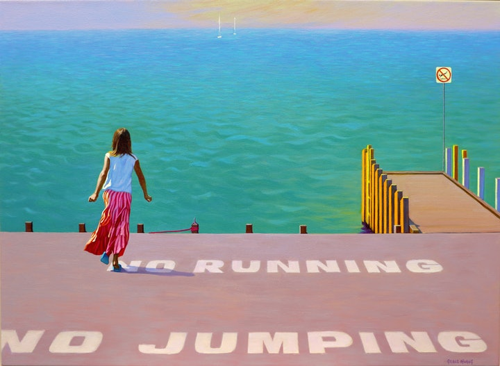 (CreativeWork) NO RUNNING by Grace Huang. oil-painting. Shop online at Bluethumb.