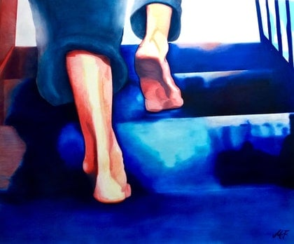 (CreativeWork) Stepping up  by Monika Feuerstein. oil-painting. Shop online at Bluethumb.
