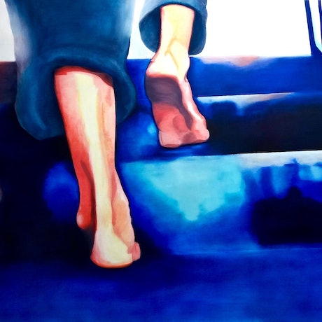 (CreativeWork) Stepping up  by Monika Feuerstein. Oil Paint. Shop online at Bluethumb.