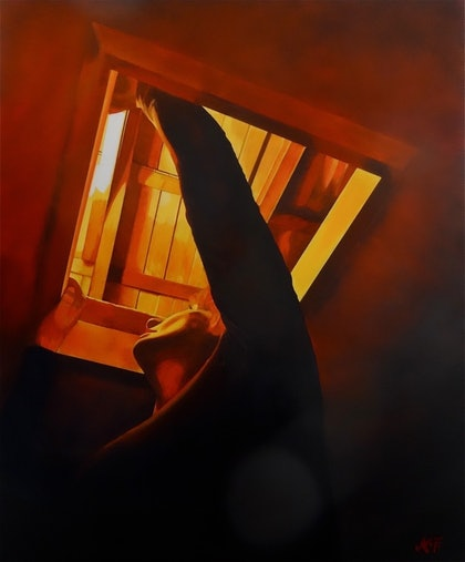 (CreativeWork) The light by Monika Feuerstein. oil-painting. Shop online at Bluethumb.