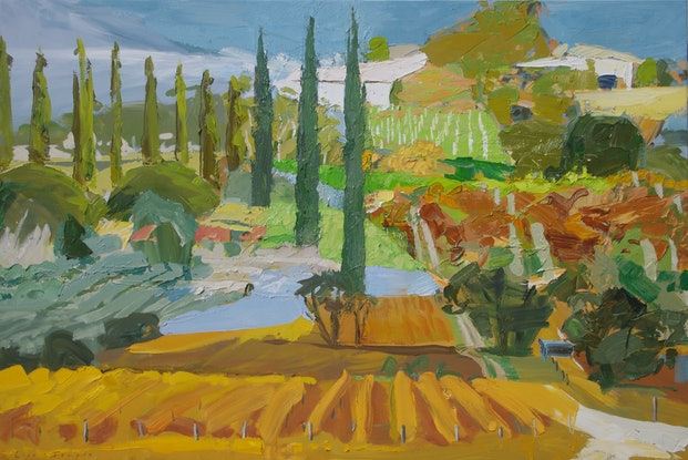 (CreativeWork) Autumn Vineyard with Cypresses by Lise Temple. Oil Paint. Shop online at Bluethumb.