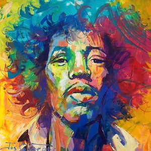 (CreativeWork) Jimi Hendrix by Jos Coufreur. arcylic-painting. Shop online at Bluethumb.