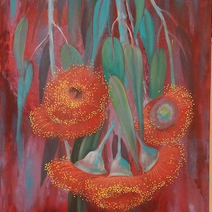 (CreativeWork) Red Gum blossoms  by Maria Heaton. acrylic-painting. Shop online at Bluethumb.