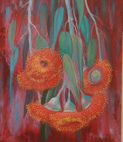 (CreativeWork) Red Gum blossoms  by Maria Heaton. arcylic-painting. Shop online at Bluethumb.