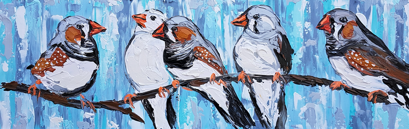 (CreativeWork) 'Beep Beep Beep' Zebra Finches  by Lisa Fahey. arcylic-painting. Shop online at Bluethumb.
