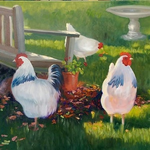 (CreativeWork) Girls in the Garden  by Maria Heaton. oil-painting. Shop online at Bluethumb.