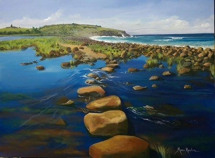(CreativeWork) Boulder Beach and Lennox head  by Maria Heaton. arcylic-painting. Shop online at Bluethumb.