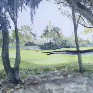 (CreativeWork) Golf in the Afternoon Two by Bernd Rieve. watercolour. Shop online at Bluethumb.