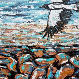 (CreativeWork) Flight Over Rocky Ground  by Lisa Fahey. arcylic-painting. Shop online at Bluethumb.