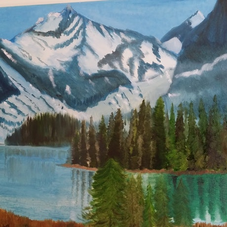 (CreativeWork) Maligne Lake-Canada by Ayomi Melanie. Oil Paint. Shop online at Bluethumb.