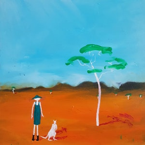(CreativeWork) Her  White Kangaroo by Little Heath. oil-painting. Shop online at Bluethumb.