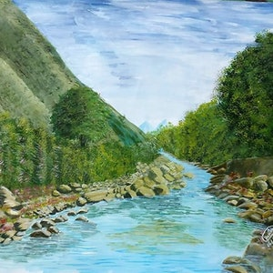 (CreativeWork) Swaat Valley by Habiba Tasnim. arcylic-painting. Shop online at Bluethumb.