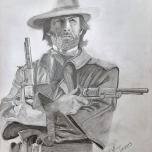 (CreativeWork) The Gunslinger by Cheryl James. drawing. Shop online at Bluethumb.