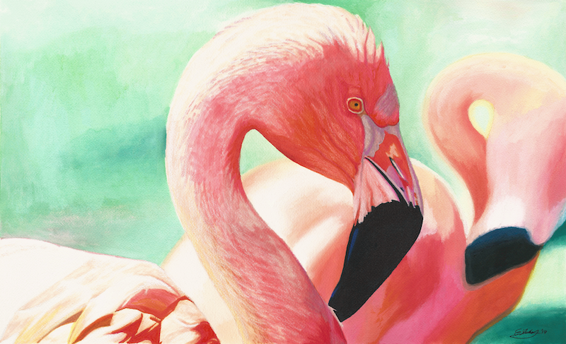 (CreativeWork) Flamingos - Original by Erin Nicholls. mixed-media. Shop online at Bluethumb.