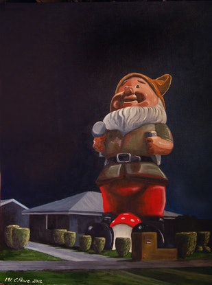(CreativeWork) House with Giant Gnome by Colin Rowe. Oil. Shop online at Bluethumb.