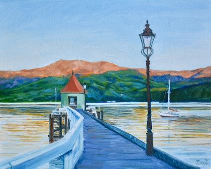 (CreativeWork) Sunrise over Akaroa Harbour, NZ by Dai Wynn. oil-painting. Shop online at Bluethumb.