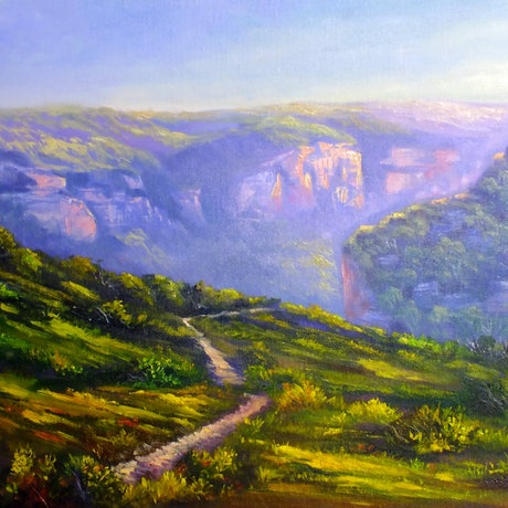 (CreativeWork) An afternoon at Pierces Pass, Blue mountains - loose linen by Christopher Vidal. Oil Paint. Shop online at Bluethumb.