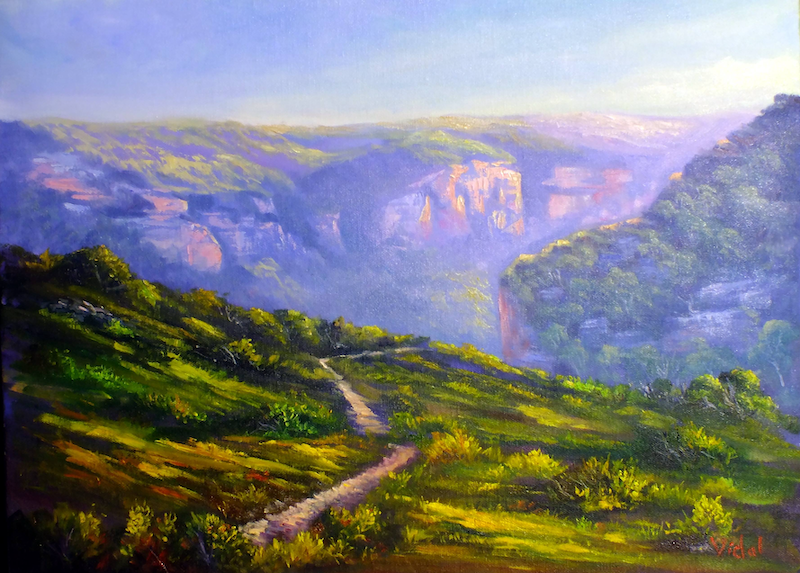 (CreativeWork) An afternoon at Pierces Pass, Blue mountains - Ready to hang by Christopher Vidal. oil-painting. Shop online at Bluethumb.