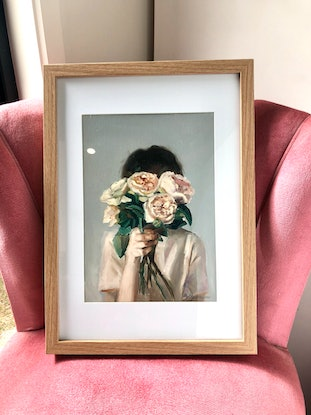 (CreativeWork) English Rose (framed) by Holly Harper. Oil Paint. Shop online at Bluethumb.