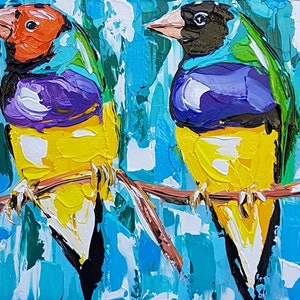 (CreativeWork) Gouldian Finches  by Lisa Fahey. arcylic-painting. Shop online at Bluethumb.