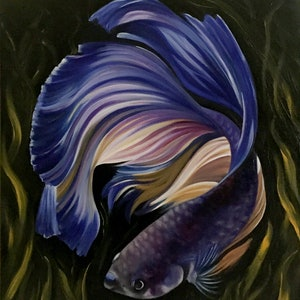 (CreativeWork) Fish in Water by Gerlinde Thomas. oil-painting. Shop online at Bluethumb.
