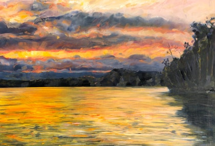 (CreativeWork) Last of the light by Kate Gradwell. oil-painting. Shop online at Bluethumb.