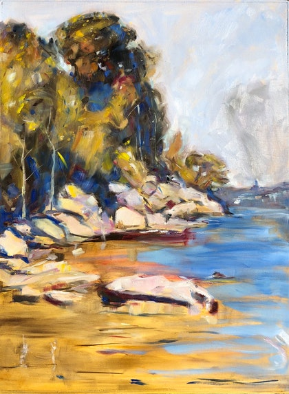 (CreativeWork) No boats Mr Streeton by Kate Gradwell. oil-painting. Shop online at Bluethumb.