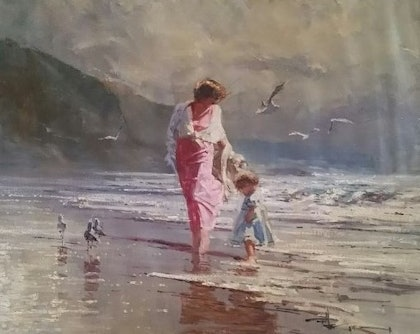 (CreativeWork) 'Just a Little Paddle' by Robert Hagan. oil-painting. Shop online at Bluethumb.