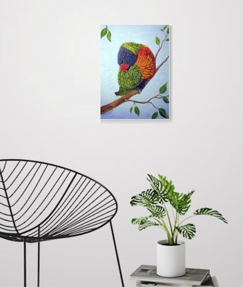 (CreativeWork) Shy Boy - Rainbow Lorikeet by Linda Callaghan. Acrylic Paint. Shop online at Bluethumb.
