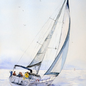 (CreativeWork) A Day On The Water by Chrysovalantou Mavroudis. watercolour. Shop online at Bluethumb.